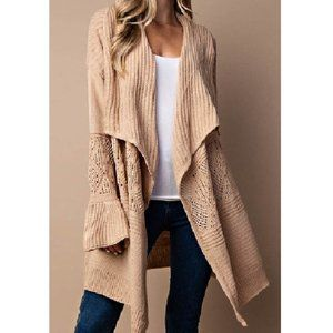 NWT Texture Mix Long Cardigan w/Trumpet Sleeves